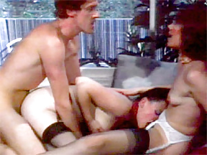 Two brunette retro ladies fucked by John Holmes