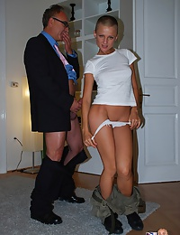 Sexy bald babe banging a very old and horny british guy
