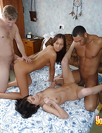 Babes bound on dicks