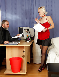 Cute secretary fucking her old boss for a raise hardcore