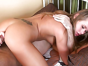 Girl gets cock in ass getting pussy fingered in this moment.
