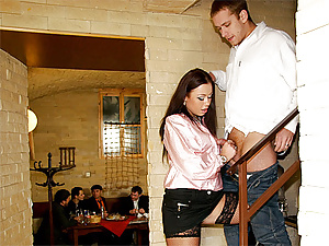 Hot babe fucks all the boys sitting at the dinner table