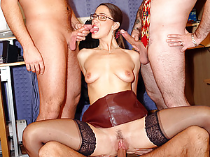 Secretary receives several layers of spunk on her glasses