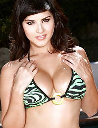 Sunny Leone Stripping Sexy Tiger Striped Bikini