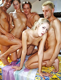 Horny British blondes fucked hard in groupsex fest
