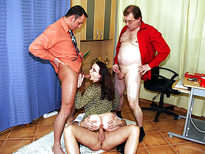 Brunette secretary does anything to get hired for the job