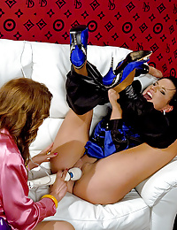 Girls playing with a big vibrator