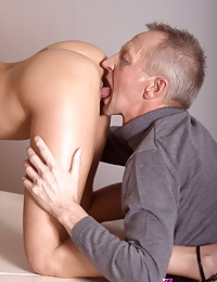 Stunning office beauty gets fucked by an horny old senior
