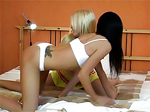 Blonde and brunette teens suck and fuck one lucky guy