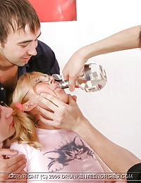 Blonde gets drunk and serves her boon companions