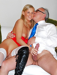 Very old guy screwing a hot willing babe wearing stockings