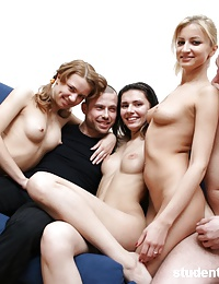 Lewd chicks enjoy group fuck on working camera