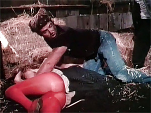 Naughty eighties lady gets fucked by guy in this stable