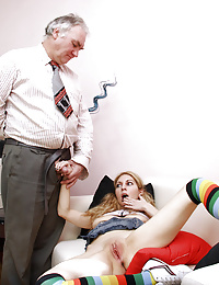 Hot innocent cutie ravaged by horny old guy on the couch