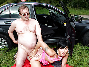 An old senior fart fucking a very hot young tart hardcore