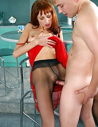 Leggy babe in black pantyhose and her lover!