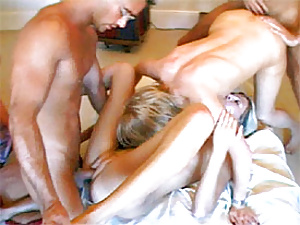 Two filthy British sluts getting stuffed by two big guys
