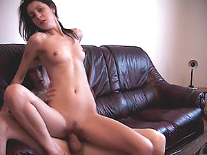 Stunning bitch is burning to see her lustful guy cumming after nice fuck at her house.