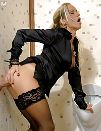 Sweetie fucked in a public toilet