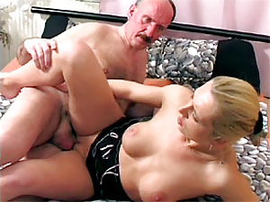 Teen girl tasting a senior his chunky load of cum