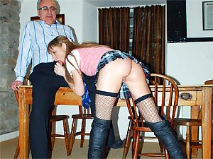 Very hot cutie pleasuring a horny old british guy hardcore