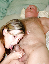 Grandpa fucking the food delivery girl after he had dinner