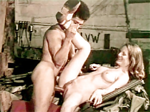Hairy retro lady fucking a car salesman for a reduction