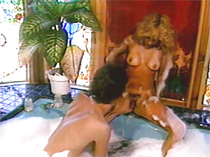 Retro lady with hairy muff enjoying a stiff cock in bath tub