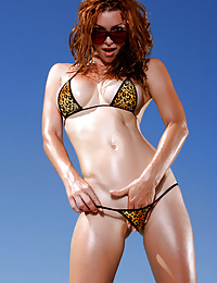 Heather Vandeven Strips Exotic Leopard G-string Bikini