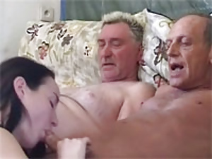 Two grandpas fucking a girl