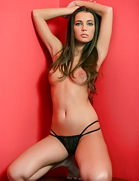 Flawless brunette beauty showing her stunning body parts