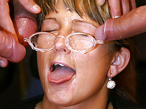 Dirty secretary gets her glasses covered with thick sperm