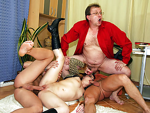 Three horny guys fucking the just fired secretary rough