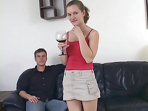 Shy lady opens up after drinking wine and getting her pretty pussy fondled.