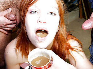 Nasty sexy redhead fucked in basement by many horny men