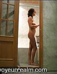 Nice brunette coed taking a shower
