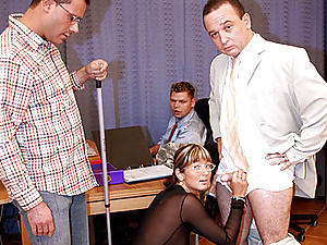 Girl wants to keep her job by sucking her colleague cocks