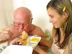 Hungry grandpa fucking this horny teenager in her pussy