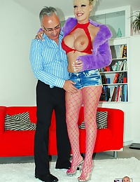 Very lucky old guy fucking a hot willing porn star hard