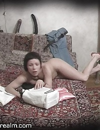 Spy on nude housewife in bedroom