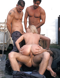 A military girl gets fucked by six soldiers outdoors